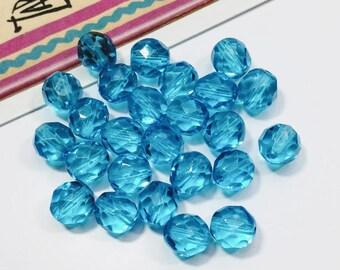 12 azure blue faceted Czech glass beads 7x6mm sky blue glass beads