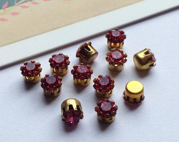 12 vintage 4mm rose pink Swarovski 17ss sparkling rhinestones