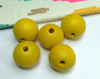 5 Large Yellow Wood Round Beads 20mm