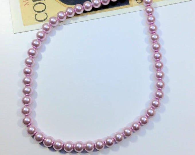 48pc Lilac glass bead strand 8mm beads