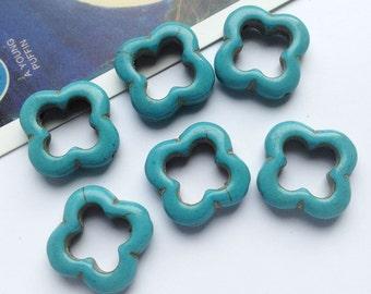 10 faux turquoise Quatrefoil open beads 20x20mm