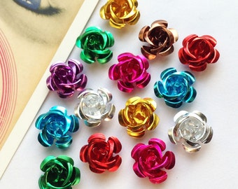 25 metal rose beads 14mm colour mix aluminium flowers 9/16""