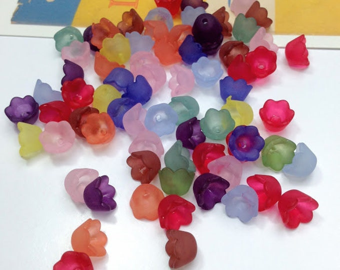 20 acrylic small Bell flower beads mix 10x6mm pretty flowers for spring/summer jewellery, flower bead caps, colour mix + bulk lots
