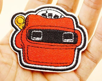 Viewfinder iron on patch 65 x 55mm retro 70s embroidered badge for jackets, bags, jeans etc.