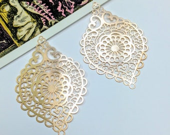 2 Gold Plated Filigree Charms 58x38mm Indian / Boho chandelier earring findings
