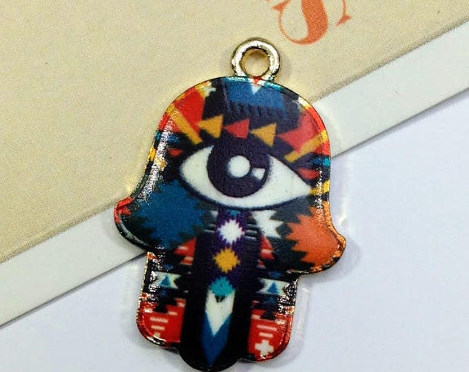 Black Enamel Hamsa Charm 30x20mm Hand of Fatima, Aztec Pattern, Evil Eye boho trinket, bohemian necklace / jewelry making