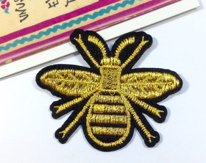 Honey Bee iron on patch 63x54mm Black/Gold bee / insect embroidered badge for denim jackets, bags, jeans etc.