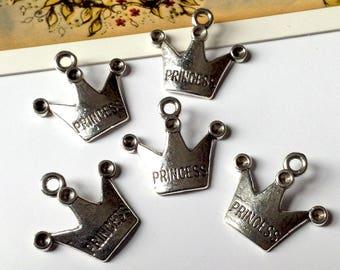 5 silver tone Princess Crown charms 19x17mm