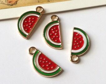 4 Enamel Watermelon Charms 17x6mm
