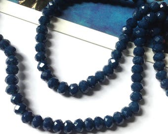 15 Prussian Blue faceted glass beads 4x3mm
