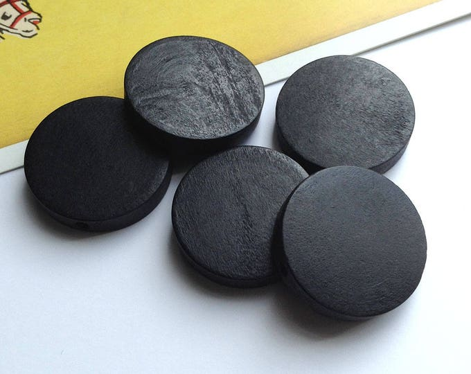 5 Black Wooden flat Disc Spacer Beads 25mm