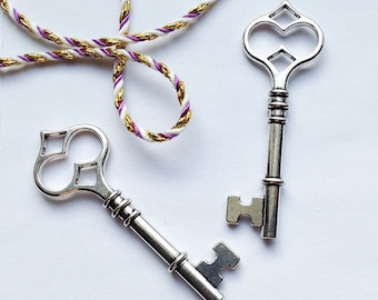 2 large Silver Skeleton Key charms 60x21mm