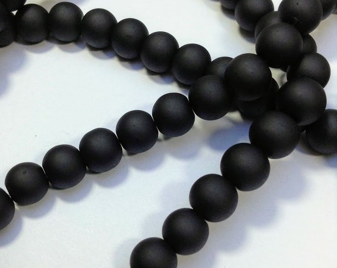 12 Black Frosted glass beads 8mm