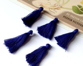 10 mini Marine Blue cotton tassels 25mm