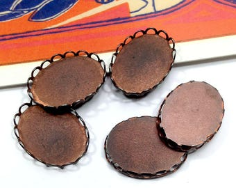 6 Vintage Copper Bezel Settings for 18x13 cabochons