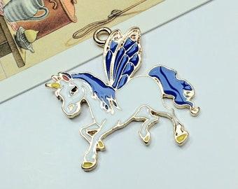 Enamel Winged Unicorn / Pegacorn Charm 33x31mm