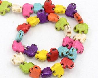 12 howlite elephant beads 15x11mm