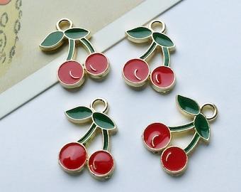 4 Red Enamel Cherry Charms 18x14mm