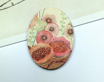 Pretty Wooden Cabochon 40x30mm floral embellishment