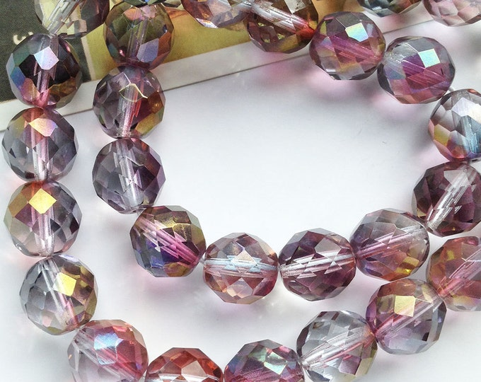10 Pink Teal Czech Glass Fire Polished faceted glass round beads 12mm Two Tone / AB