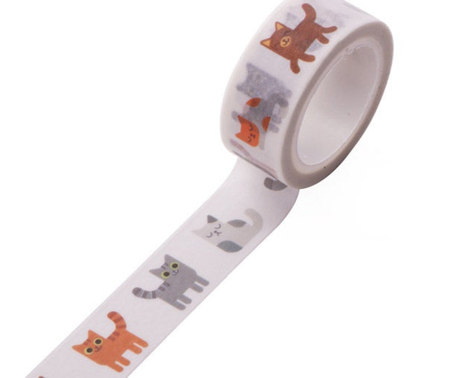 5m roll Illustrated Cartoon Cat Washi Tape 15mm wide, adhesive crafts tape, illustrated washi for decoration & packaging