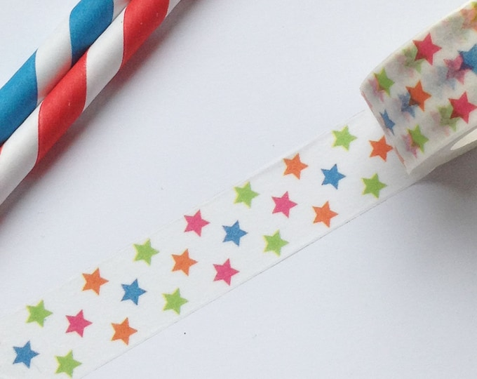 10m roll Illustrated Rainbow Star Washi Tape 15mm wide, arty adhesive crafts tape for decoration + packaging