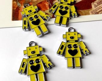 2 enamel Yellow Robot charms 28x20mm metal   space age, Sci-Fi 60s style trinkets