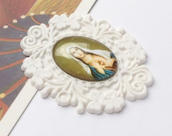 Vintage Ornate Virgin Mary Brooch Part 52x40mm  Sacre Coeur Religious finding