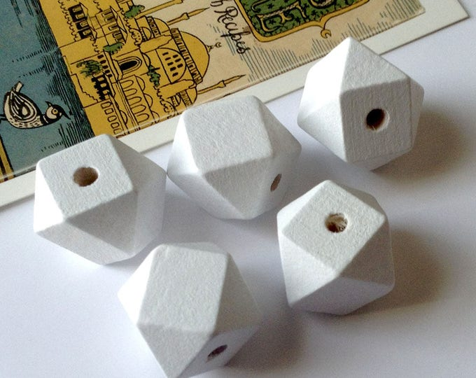 5 White Wooden geometric / Polygon Beads 20mm