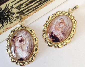 2 pretty Alice in Wonderland Charms 37x25mm
