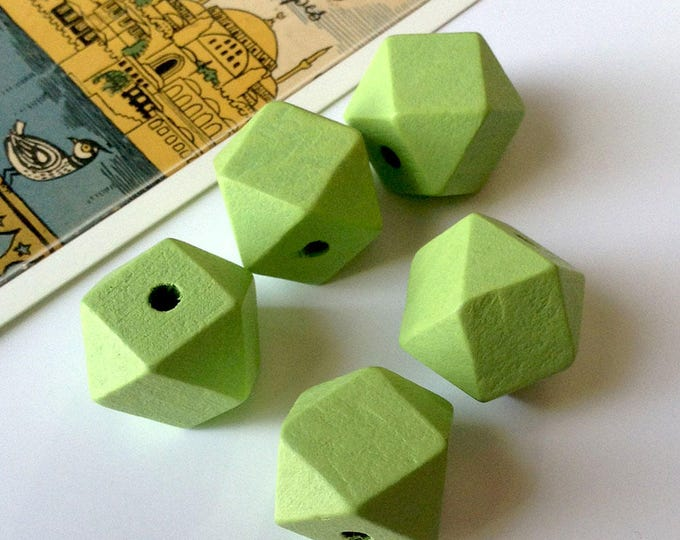 5 Mint Green Hinoki Wood Polygon Beads 20mm for geometric necklace making