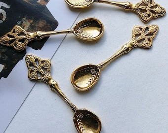 Bulk Lot 25 Antique Goldtone Large Tea Spoon Charms 58x15mm