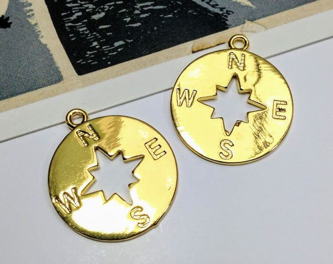 2 gold plated copper compass charms 23x20mm travel / vacation charms for making necklaces / bracelets