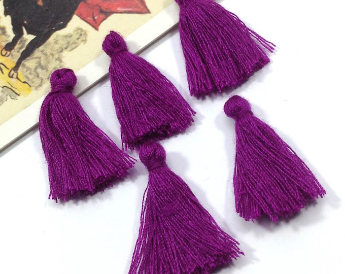 10 mini purple tassels 25mm cotton, rich Bohemian Moroccan / Indian style short tassels