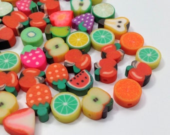 15/50/100 fruit beads 10mm bright, polymer clay cute fruit trinkets for jewelry making, bulk lots