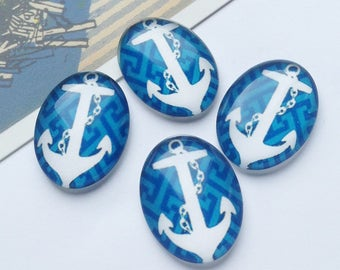 4 Glass Anchor Nautical cabochons 25x18mm