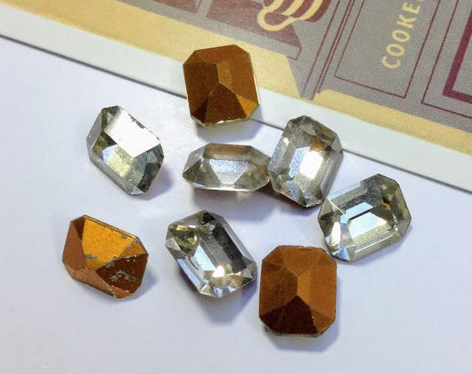 8 vintage 12x10mm baguette clear Austrian glass stones, with gold faceted backs
