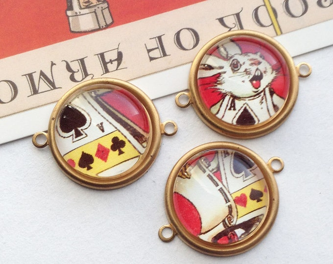 3 Alice in Wonderland brass connector charms 25x22mm round glass picture trinkets, white rabbit/march hare