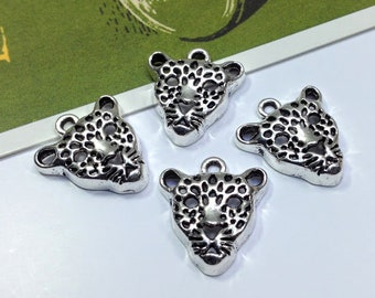 4 Antiqued Silver Leopard Charms 20x18mm