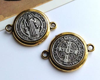 1 St Benedict connector charm 30x22mm patron saint of students and Europe San Benito religious medal, silver tone & gold