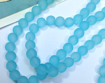 12 Sky Blue Frosted glass beads 8mm