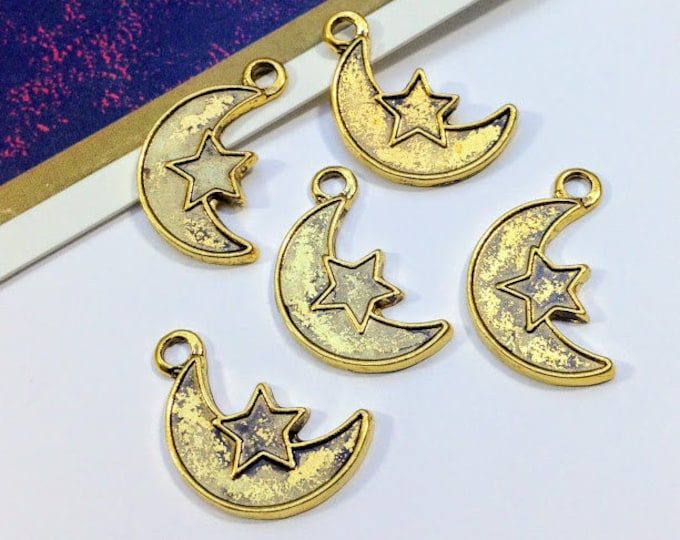 Bulk Lot 50 gold tone Moon & Star Charms 24x13mm antiqued gold metal celestial trinkets