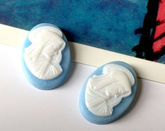 Bulk Lot 12 Vintage Virgin Mary Cameos 8x13mm Wedgwood Blue religious Cabochons