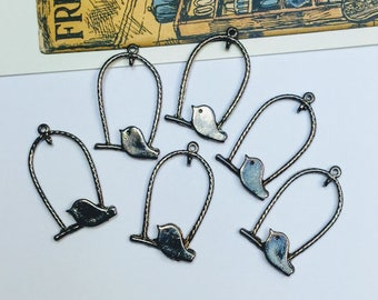 6 Gunmetal Bird on Swing Charms 30x18mm with connector loop