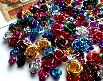 30 Mix aluminum metal rose beads lot 6 to 14mm colour mix aluminium flowers