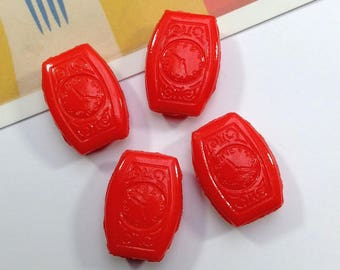 4 Vintage Red Ceramic Watch Beads 23x17mm 1960s rare Japanese findings