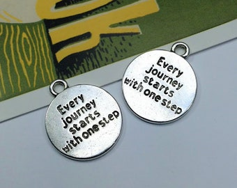 2 Every Journey Starts With One Step Charms 23x20mm silver tone inspirational medals