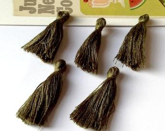 10 mini Dark Khaki Green cotton tassels 25mm