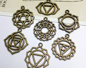 7pc Bronze Chakra Charms Set 30mm yoga pendants / chakra symbols for jewellery making