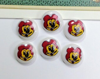 6 Vintage Japanese Cartoon Bear Cabochons 12mm